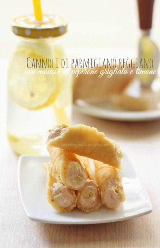 La ricetta della felicità: Cannoli di Parmigiano reggiano con mousse ai peperoni grigliati e limone per #PRChef2015