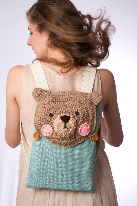 small backpack crochet bear cute light blue beige ipad backpack FREE SHIPPING