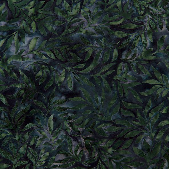 Bavlněná látka Batika Bali lístky tm. zelené BB