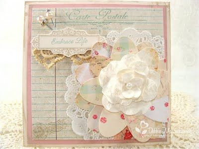 Simple Treasures: August 2011.  Neat idea to round out a smaller flower...punched ovals from vintage style paper scraps!