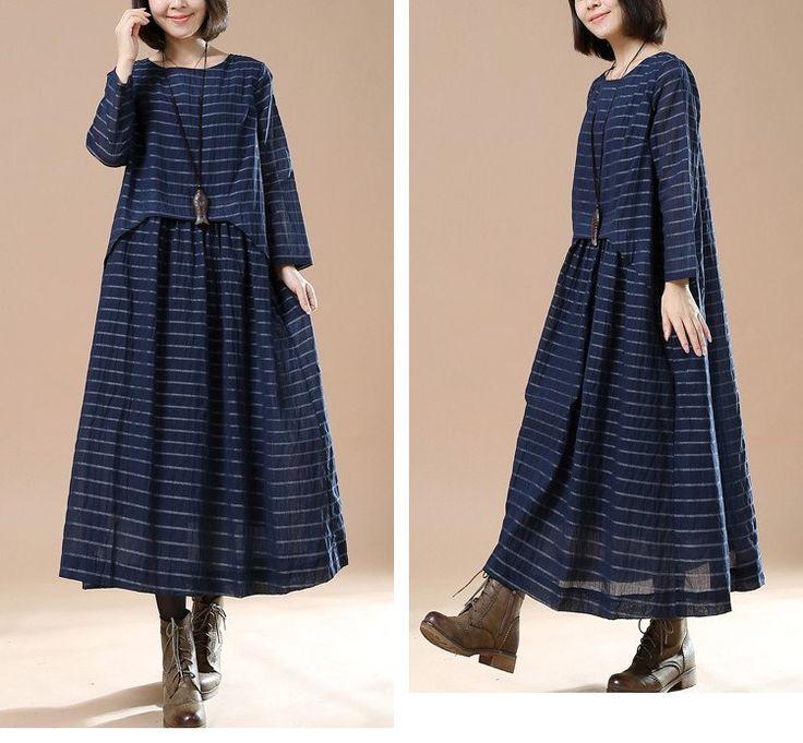 Blue Women cotton loose long sleeve