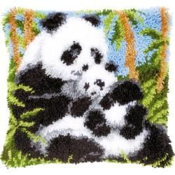 """""""Panda Bears"""" Latch Hook Pillow or Wall Hanging Kit * Brand - Vervaco * Size - 16"""" * Package Condition - New in Original Package. Kit contains - - hand painted large hole mono canvas - cut yarn packs - latch hook - instructions in 8 languages - including English ** Many of our craft kits are older or vintage and will have some wear to the outside packaging (including price tag residue in some cases). If there is anything worth noting (a tear, missing pieces, open package, etc.), it will be noted"""