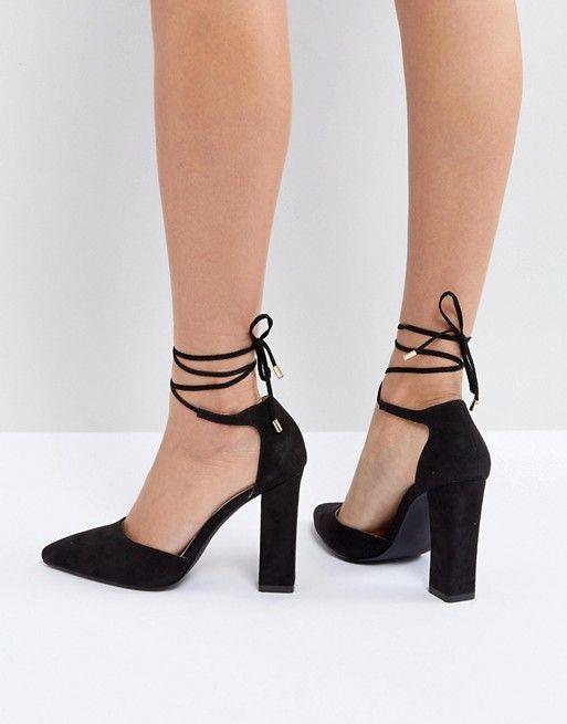 82b9a43305a8a7 RAID – Pamela – Schwarze Schuhe mit Knöchelriemen und Blockabsatz in 2019