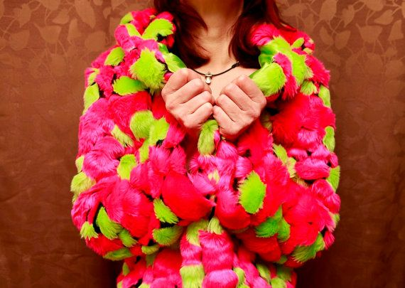 Pink/Green Bubble Fur Coat  Size M by padshiyangel25 on Etsy, $140.00: Fur Coats, Bubble Fur, Pink Green Bubble