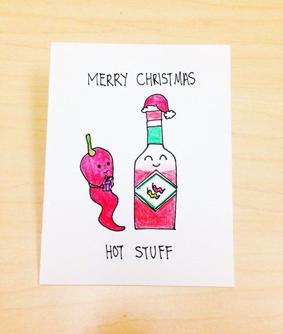 Merry Christmas Hot Stuff. ♥ Hand drawn with pencil crayons on high quality acid-free, 300gsm cardstock ♥ 4.1 (10.5 cm) x 5.8 (14.8 cm) in size