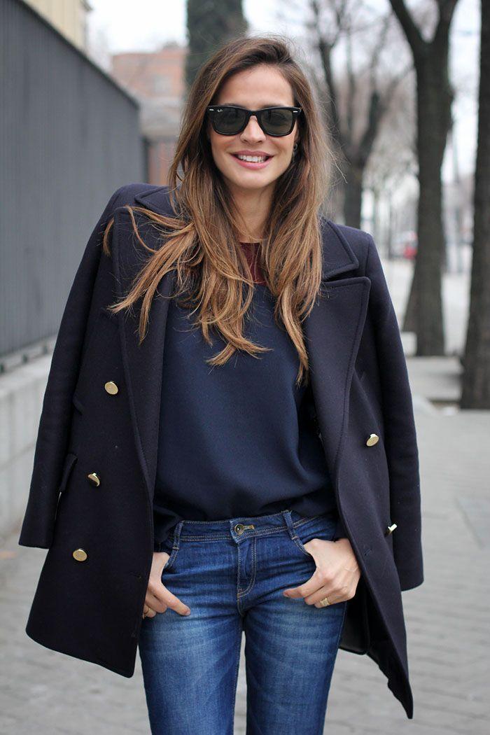 short navy coat