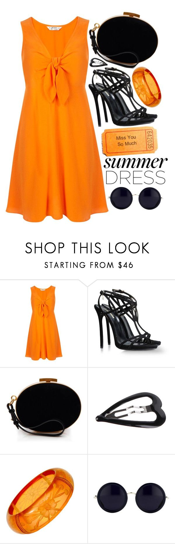 """Orange and Black"" by mormon-girl ❤ liked on Polyvore featuring Miss Selfridge, Dsquared2, Nina Ricci, Forever 21, The Row, contest, black, orange, sunglasses and summerdress"