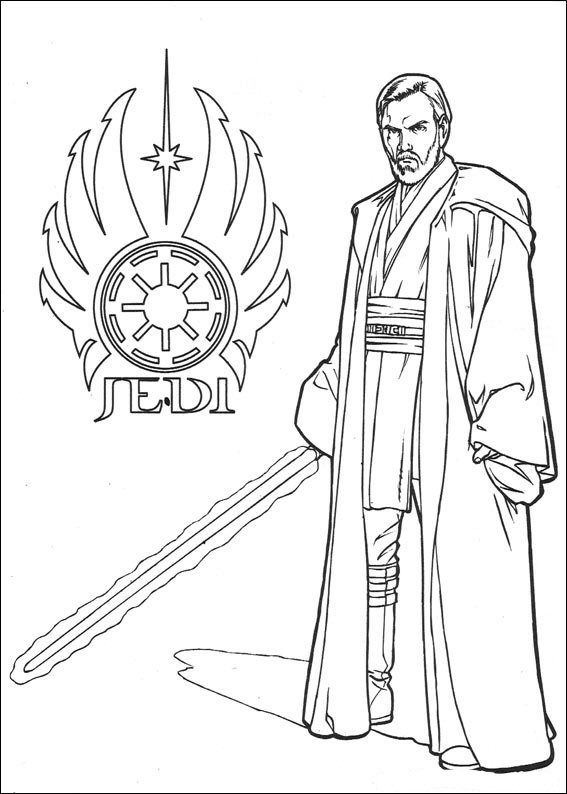 coloring page star wars jedi