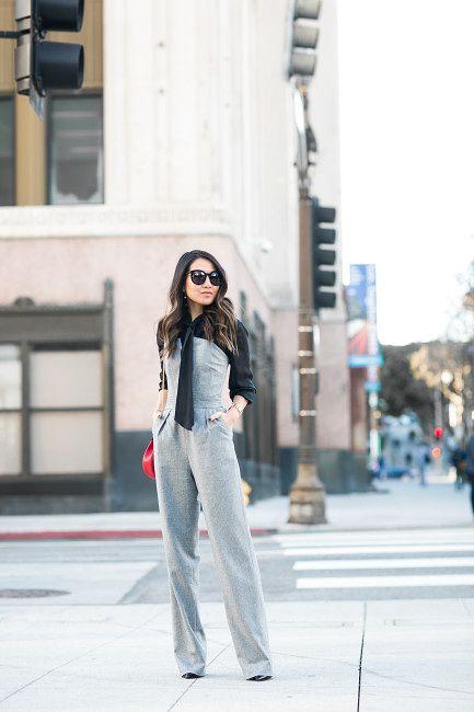 Great Heights :: Tailored jumpsuit & Silk tie blouse | Wendy's Lookbook | Bloglovin'