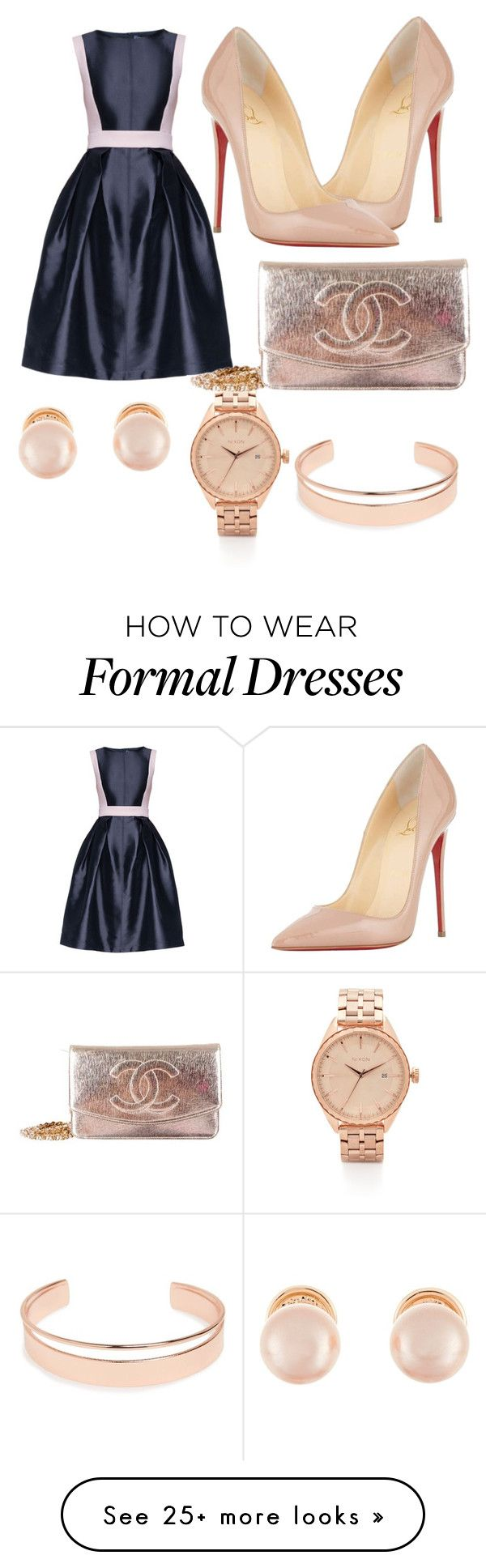 Something Formal by nisavillanueva on Polyvore featuring Lattori, Christian Louboutin, Kenneth Jay Lane, Nixon, Leith and Chanel