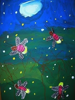 Very Lonesome Firefly ~ great background idea / make fireflies from thumbprints for body/light