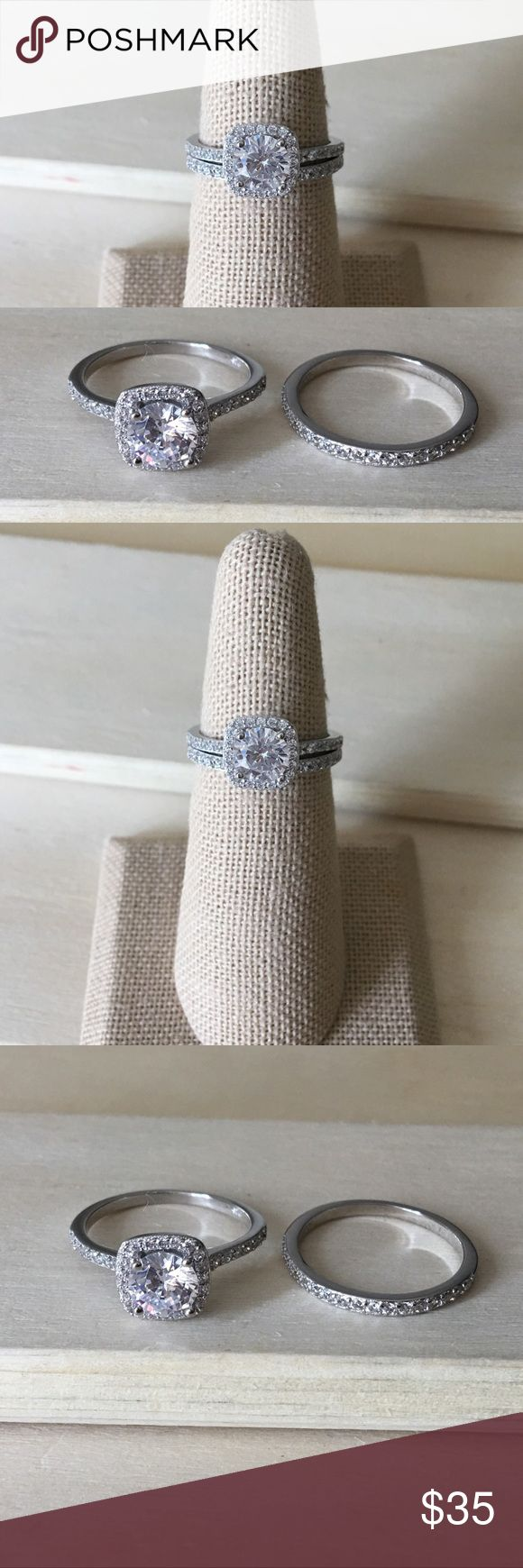 Sterling Silver Halo Wedding Ring Set Condition: New Metal: Stamped .925 Sterling Silver Stone: Cubic Zirconia   Will come in a gift box.  Reasonable offers accepted! Please ask any questions you have ☺️  -Sterling Silver Ring Women's Jewelry Rings New Promise Ring Engagement Gift Anniversary- Jewelry Rings #weddingjewelry