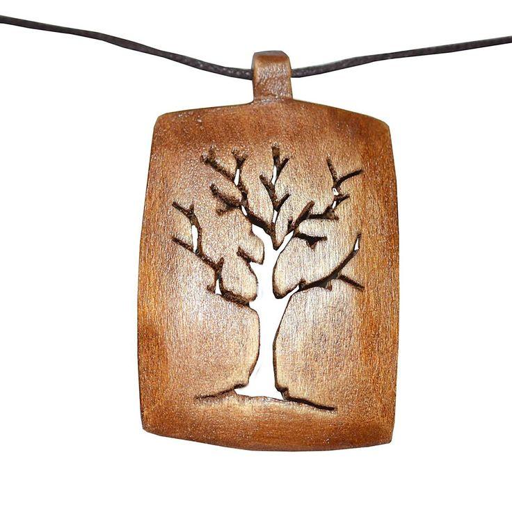 WΜ063 -Ξυλόγλυπτο χειροποίητο κολιέ με τετράγωνο μενταγιόν - δέντρο