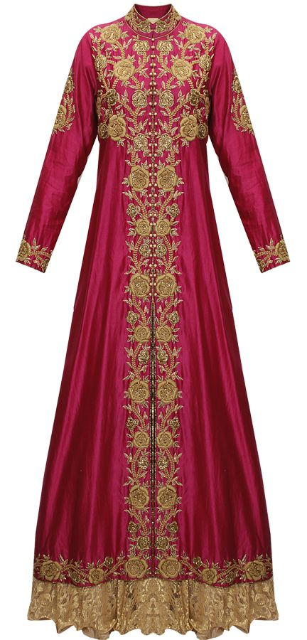 Magenta embroidered long jacket with chantilly lace lehenga by J/Jannat. Shop now: http://www.perniaspopupshop.com/designers/j-by-jannat #shopnow #perniaspopupshop #happyshopping