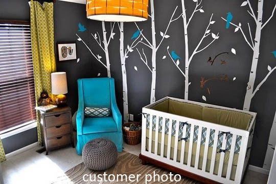 Wood Theme Nursery: Color Schemes, Boys Nurseries, Baby Boys Rooms, Decals, Trees, Baby Rooms, Nurseries Ideas, Dark Wall, Kids Rooms