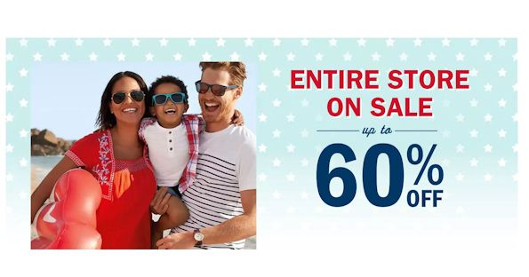 Celebrate America's birthday at Old Navy and save 60% off on absolutely EVERYTHING! Yes, you read that correct! Save up to 60% off of EVERYTHING! Score some apparel, flip flops and more for 60% off!  Additionally, you can receive Free Shipping on orders of $50 or more when you shop online!  Cool!!  This Deal ends on 07/06/17  So go and enjoy the savings! http://ifreesamples.com/60-entire-store-old-navy-weekend/