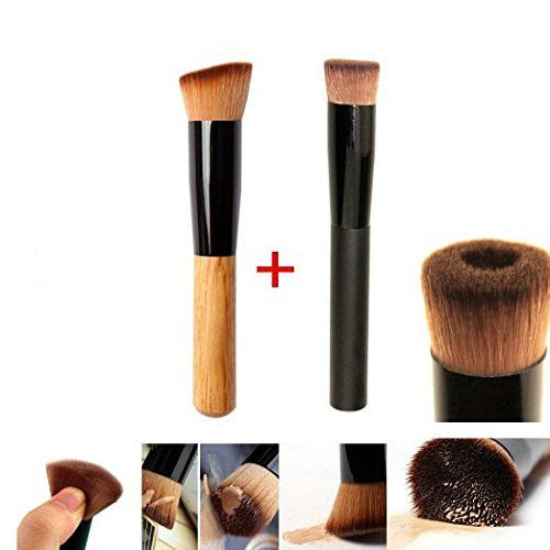 GYBest Best 2pcs Premium Brushes - Black Professional Face Concave Liquid Foundation Makeup Brush + Cosmetic Makeup Foundation Powder Brush Angled Professional Tool