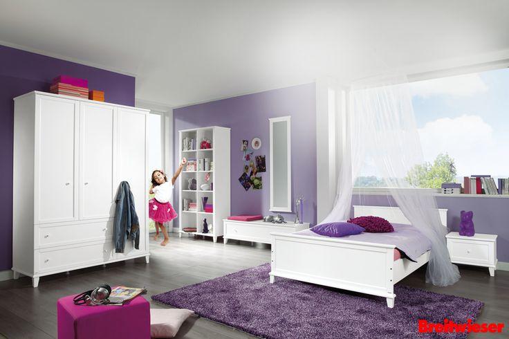 PAIDI   Kinderzimmer   Jugendzimmer   Kleiderschrank   Bett   Weiß   Lila   Pink   Mädchenzimmer