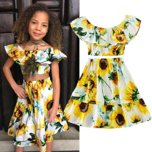 Styles I Love Infant Baby Girls Chic Yellow Crop Top and Skirt Sunsuit Summer Outfit