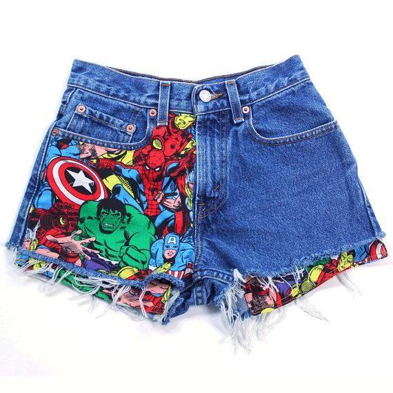 Levis Vintage Cut off Jean Shorts, Super Hero Patched Jean Shorts, Marvel Patched Jean Shorts – Diy