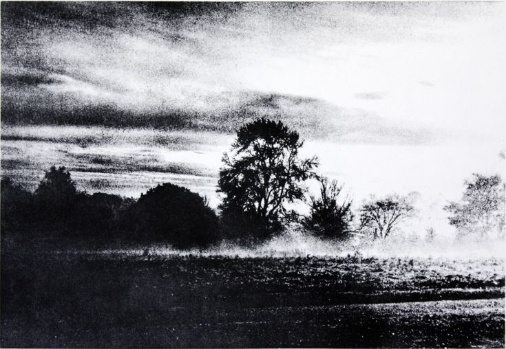 ARTFINDER: Early morning walk by Marianne Nix - A bonus of an early morning walk is a view of the mist rising off the land and revealing the majesty of the 'lungs of London' and Hampstead Heath. Hand inked...