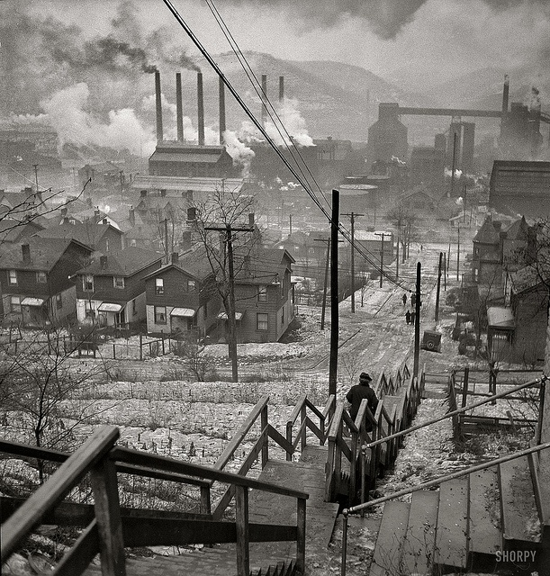Long stairway in mill district of Pittsburgh, by Jack Delano 1940