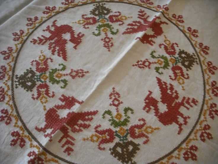 Cute Leinen Tischdecke x cm bestickt schottische rote Drachen Handarbeit in u