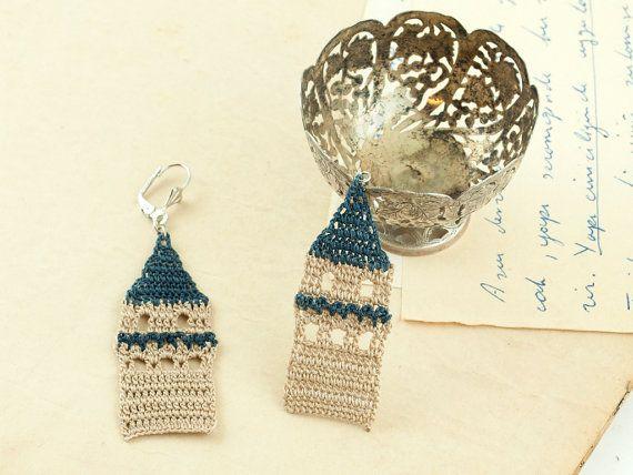 Tower Earrings – Lace Earrings - Galata Tower Earrings – Historical Icon Jewelry - Hoop - Dangle - Fiber Art Jewelry – Bohemian
