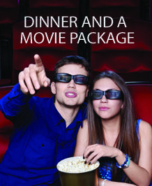 Dinner and a Movie Package $190.00  Treat your partner to a night out with our dinner and a movie package.  Enjoy one night stay in one of our deluxe guest rooms, a $60 credit voucher to our on-site restaurant Chicago Joe's and 2 Cineplex movie passes.  Availability: Valid only until September 30, 2014