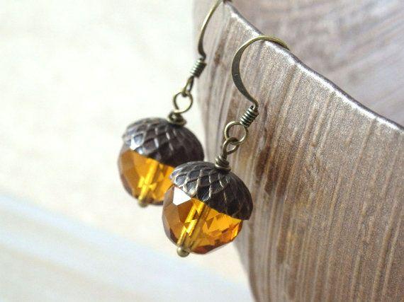 Acorn Earrings Acorn Jewelry Czech Glass by FallenLeafJewelry