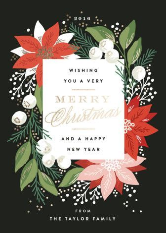 """Greeting Card Floral"" - Elegant, Vintage Foil-pressed Holiday Cards in Charcoal by Alethea and Ruth."