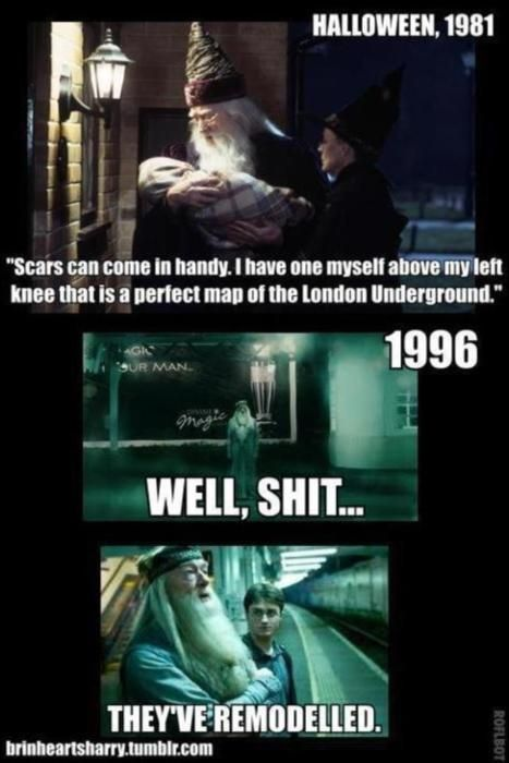 But consider this:  Unless Dumbledore had that scar memorized, he would have to show some leg every time he referenced it. o.O