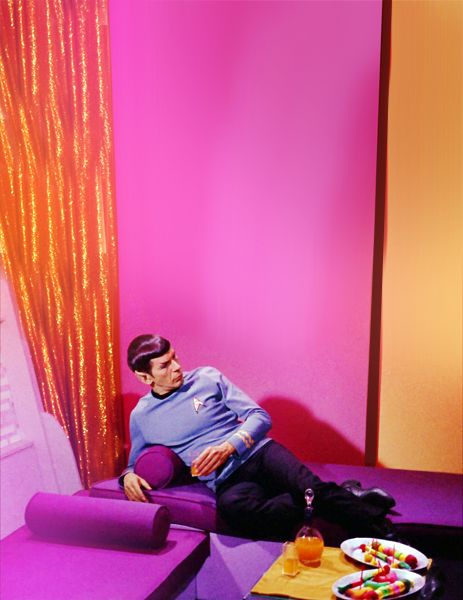 awesome.: Lounges, French Girls, Stars Trek, Pink Room, Startrek, Leonard Nimoy, Funny Commercials, Spock, Bachelor Pads