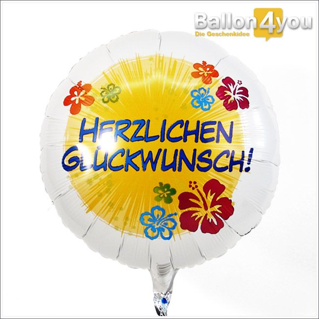 Herzlichen Glückwunsch - Blumen       Welcher Person möchten Sie gerne gratulieren? Egal, ob zum Geburtstag, zur bestandenen Prüfung oder der neuen Wohnung, mit diesem Ballongeschenk liegen Sie genau richtig. Verziert mit bunten Blumen ist dieses Geschenk eine Garantie für Freude pur.