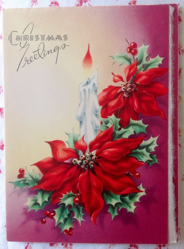 Vintage 1940s UNUSED Embossed Christmas Card White Holiday Candle & Poinsettias