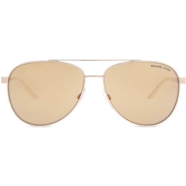 Michael Kors Mk5007 Hvar aviator sunglasses ($155) ❤ liked on Polyvore featuring accessories, eyewear, sunglasses, gradient lens sunglasses, michael kors sunglasses, michael kors eyewear, summer glasses and michael kors