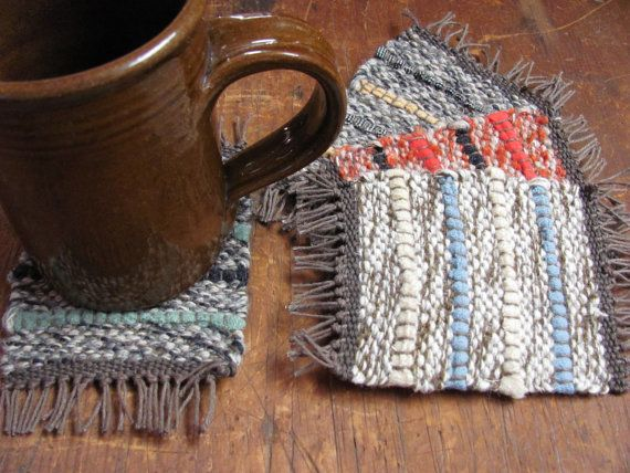 Coffee, Tea Mug, Cup Coasters, Handwoven Recycled Wool Yarn & Rag, Rustic Cabin, Country Cottage, Farmhouse Harvest Home Decor (set of 4)