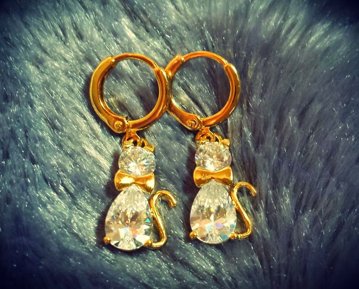 Twirllinks Elegant Søt Kitten Øredobber AAA+  #AAA+ #accesories #cute #damesmykker #fashion #gull #legering #kitten #smykker #søt, #Zirkonia #øredobber