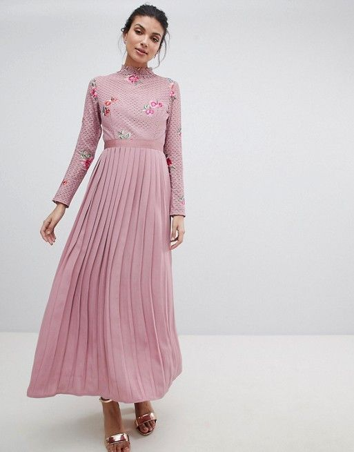 c63697f4ae1 VIDEOSHARELittle Mistress Tall Embroidered Lace Top Midaxi Dress With  Pleated Skirt