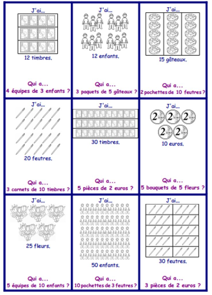 43 best jeu j 39 ai qui a images on pinterest french for Les multiplications
