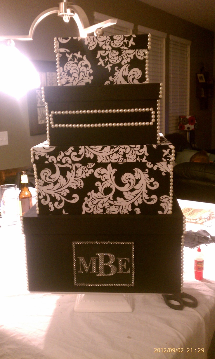 Satin wedding card box with royal blue flower and rhinestone mesh trim - Black White Damask Wedding Card Box