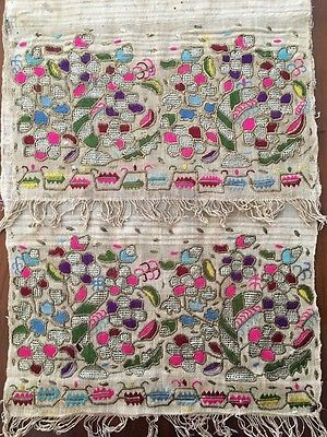 Antique Ottoman-turkish Silk & Metallic Hand Embroidery On Linen N3