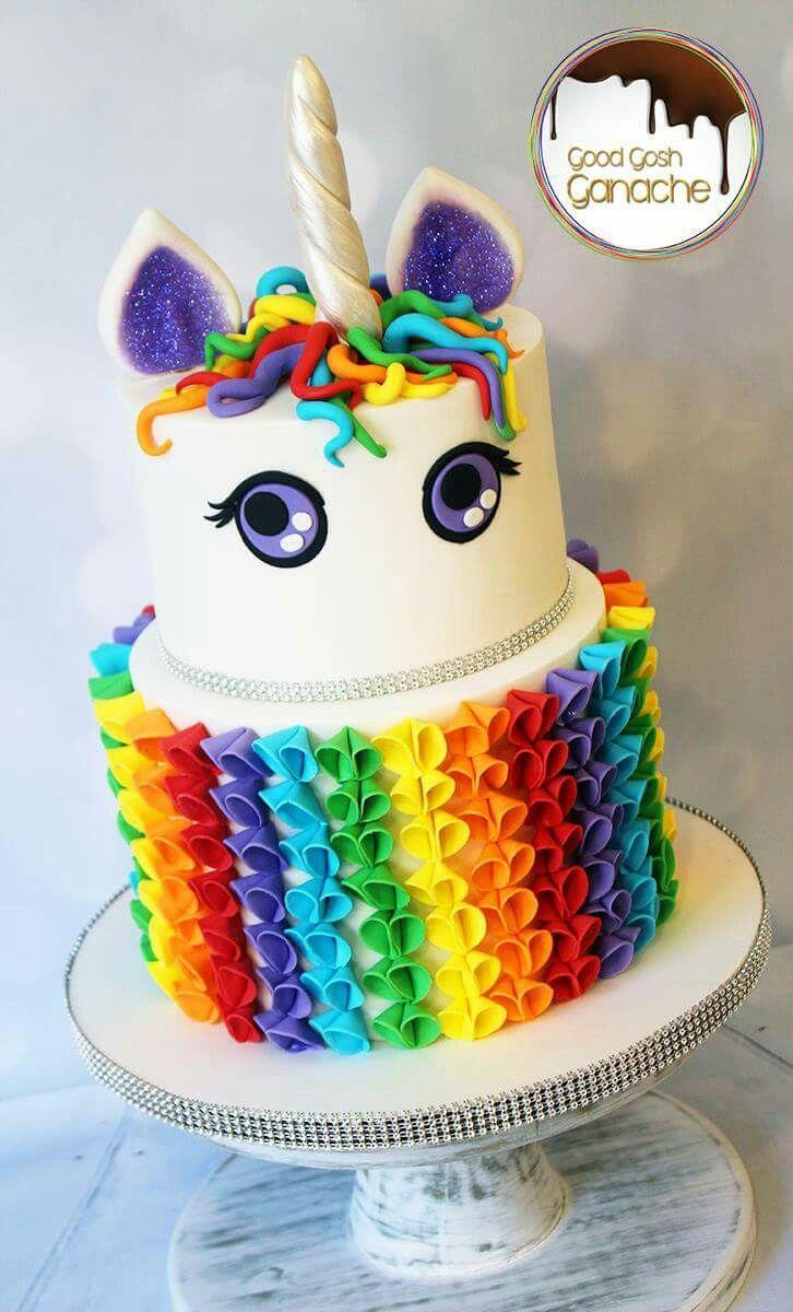 tarta para temtica de unicornio o arcoiris evento con mucho love