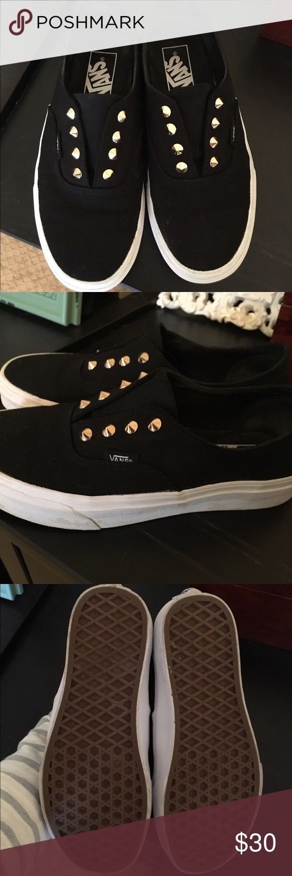 Studded Vans Slip Ons Like-new condition - the only size available was a half size too small for me and I bought them anyway, but they're just too small 😫 worn a couple of times for an hour or so, but in basically new condition. So sad to see these go! Gold spike studs, slip on styling, canvas upper. Vans Shoes Sneakers