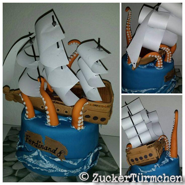 Motivtorte Schiff Krake Wellen Piraten Cake ship pirates