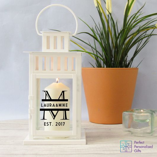 Monogrammed Lantern.  Beautiful antique effect lantern available in black or white. Looks simply stunning on a fireplace and lovely way to celebrate a relationship.  These are lovely wedding or anniversary gifts as they make a great statement to any room and can be personalised with your own initials and special date. They are also versatile as they can be used inside or out. Great for an evening BBQ or glass of vino in the garden.