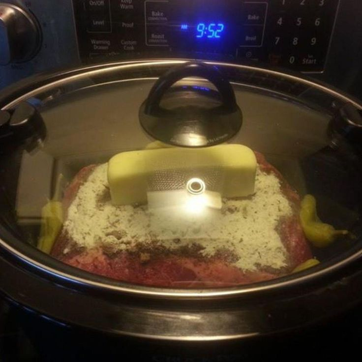 Mississippi Pot Roast 1 2-3lb beef roast 1 packet of dry ranch dressing mix 1 packet of dry Au Jus mix 1 stick of butter  4-6 peperonchini peppers (basicly a whole banana pepper or mild pepper out of the jar)  Place roast in crock pot. Dump everything on top. Put on lid and let cook for 6-8 hours on low. DO NOT ADD WATER.