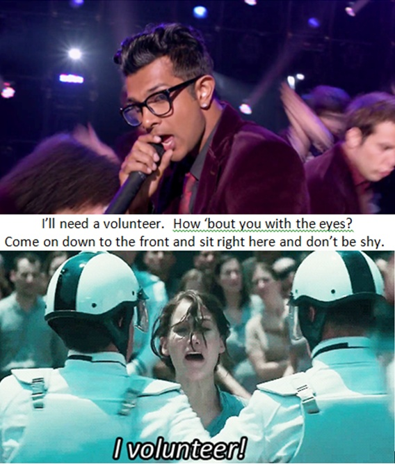 haha Pitch Perfect and Hunger Games photo mash-up I made because I'm now in love with Utkarsh Ambudkar.