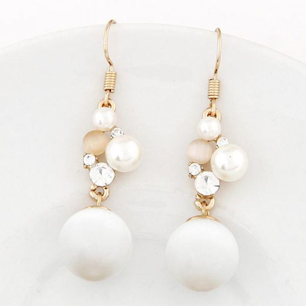 White Pearl Bride Earrings
