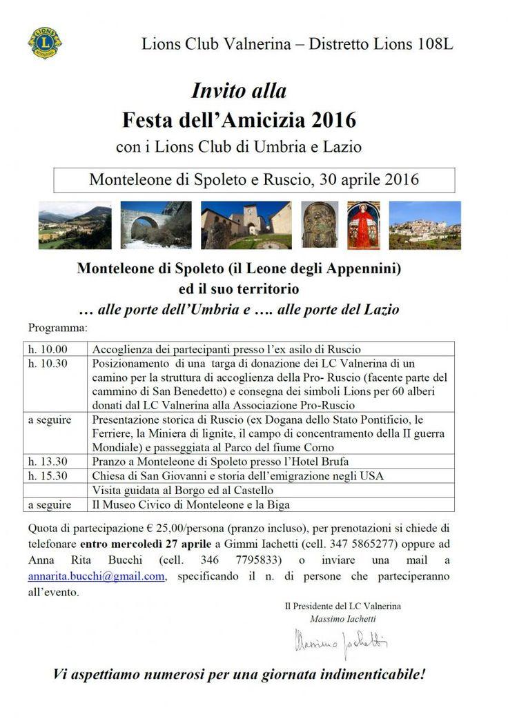 Tutti invitati alla Festa dell apos Amicizia 2016 con i Lions di Umbria e Lazio